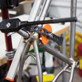 Image of handbuilt Pedalino bare frame closeup