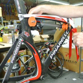 Image of bare Pinarello Carbon TT Frame