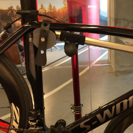 Image of S-Works Carbon Bike in repair stand using Hirobel Frame Clamp