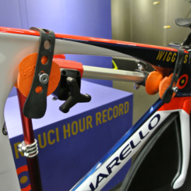 Image of Bradley Wiggens Pinarello TT-Bike closeup